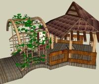 木制草亭子的SU模型