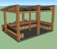 木制花园凉亭的SU模型