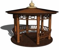 木制圆顶亭子的SU模型
