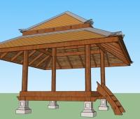 木质屋顶亭子SU模型设计
