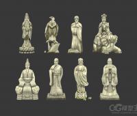 一组名人雕像3D模型