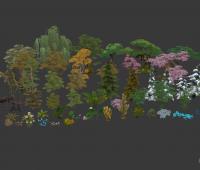 一套3D低模游戏植物模型
