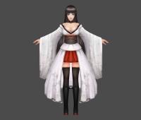 二次元 白袍 黑丝 女 3D模型