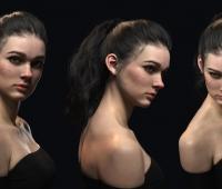 写实现代美女角色3D模型作品