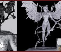 精美绝伦妖艳的带翅膀的美女模型 CG模型
