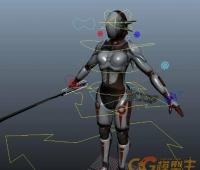 女性日本刀武士女忍者 CG模型免费下载