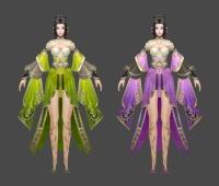 非常不错的手绘角色 武侠 仙侠 绿裙 紫裙 舞女 喜欢就下载吧