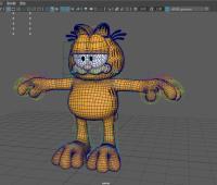 卡通动画角色可爱的加菲猫模型 带绑定