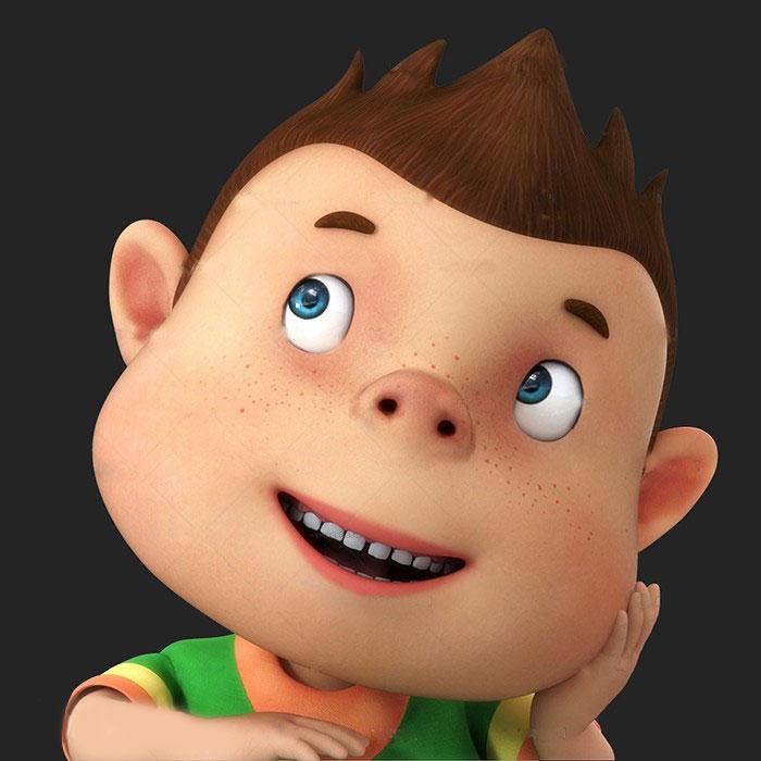 卡通可爱的大头男孩3d模型 已绑身体和表情